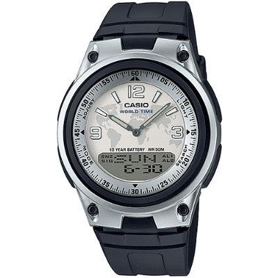 CASIO 都會個性地圖紋雙顯腕錶-膠帶/白面(AW-80-7A2)/40mm