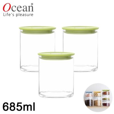 OCEAN NORMA系列儲物/儲存玻璃真空罐685ML-3入組(綠)