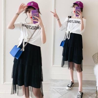 中大尺碼英文字一字領T恤加網紗拼接層次背心裙XL~4L-Ballet Dolly