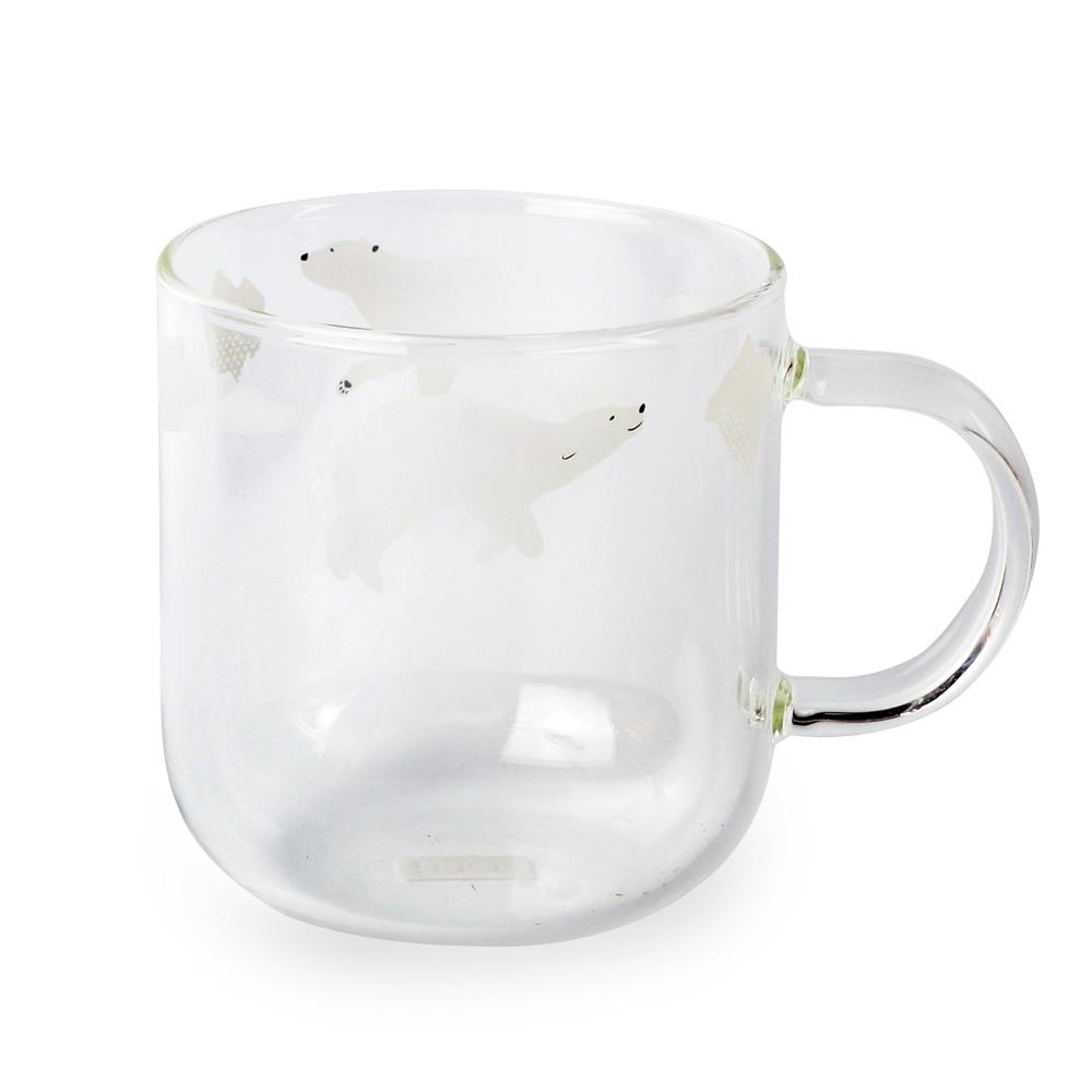 Caldo卡朵生活 極地樂游北極熊高硼矽耐熱透明馬克杯