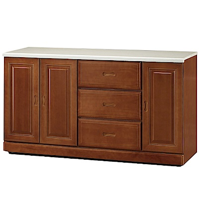 綠活居 莎曼珊時尚4.9尺雲紋石面餐櫃/收納櫃-145.5x48x82cm-免組