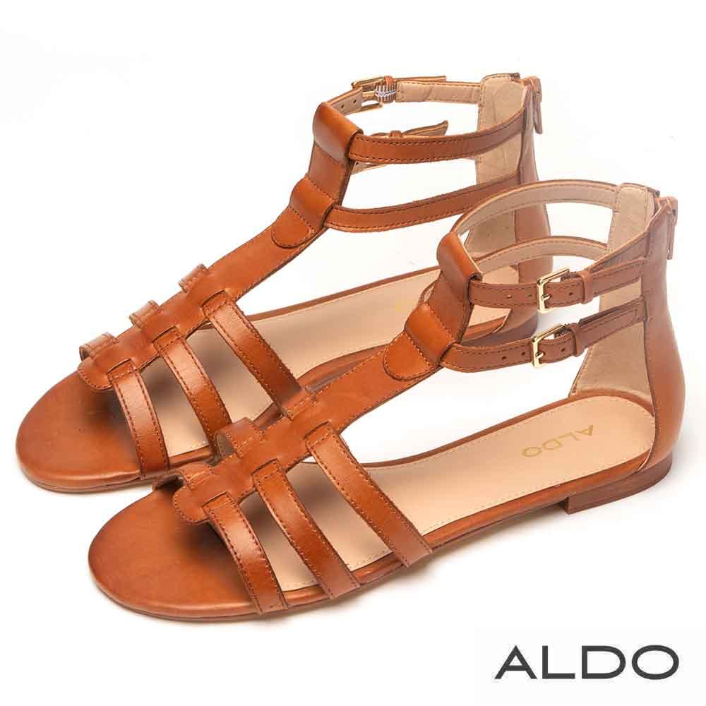 ALDO 原色真皮鞋面魚骨金屬繫帶涼鞋~氣質焦糖