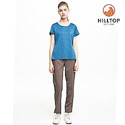 【hilltop山頂鳥】女款吸濕快乾抗UV抗菌T恤S04FI0勘天藍