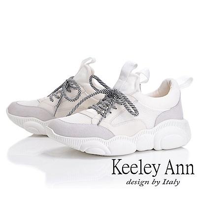 Keeley Ann 輕運動潮流 復古拼接造型大底休閒鞋(白色-Ann)
