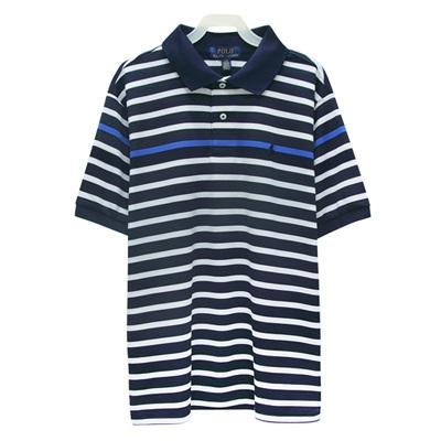 Ralph Lauren 大童經典小馬條紋短袖POLO衫-藍/白(L/14-16歲)