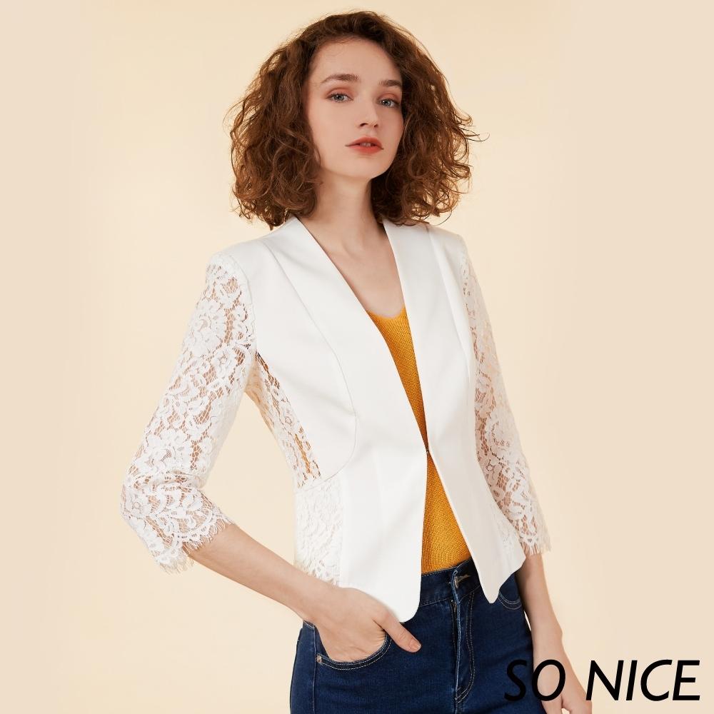SO NICE時尚蕾絲袖西裝外套