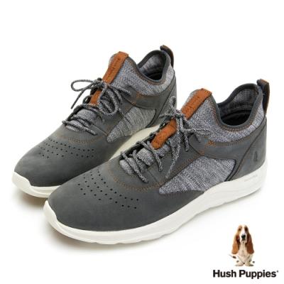 Hush Puppies 針織透氣運動休閒男鞋-深灰