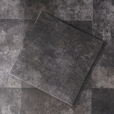 樂嫚妮 DIY仿石紋地貼/地磚-台灣製-防燄防霉耐磨抗菌-0.5坪/18片-水泥黑色