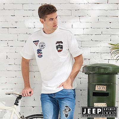 JEEP 經典冒險徽章純棉短袖TEE-白色