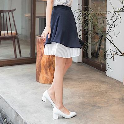 裙襬百褶拼接純色雪紡傘襬短裙-OB大尺碼
