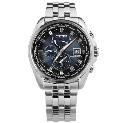 CITIZEN 光動能電波防水不鏽鋼(AT9031-52L)手錶-深藍/44mm