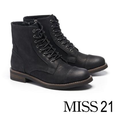 短靴 MISS 21 帥氣粗曠牛皮綁帶低跟短靴-黑