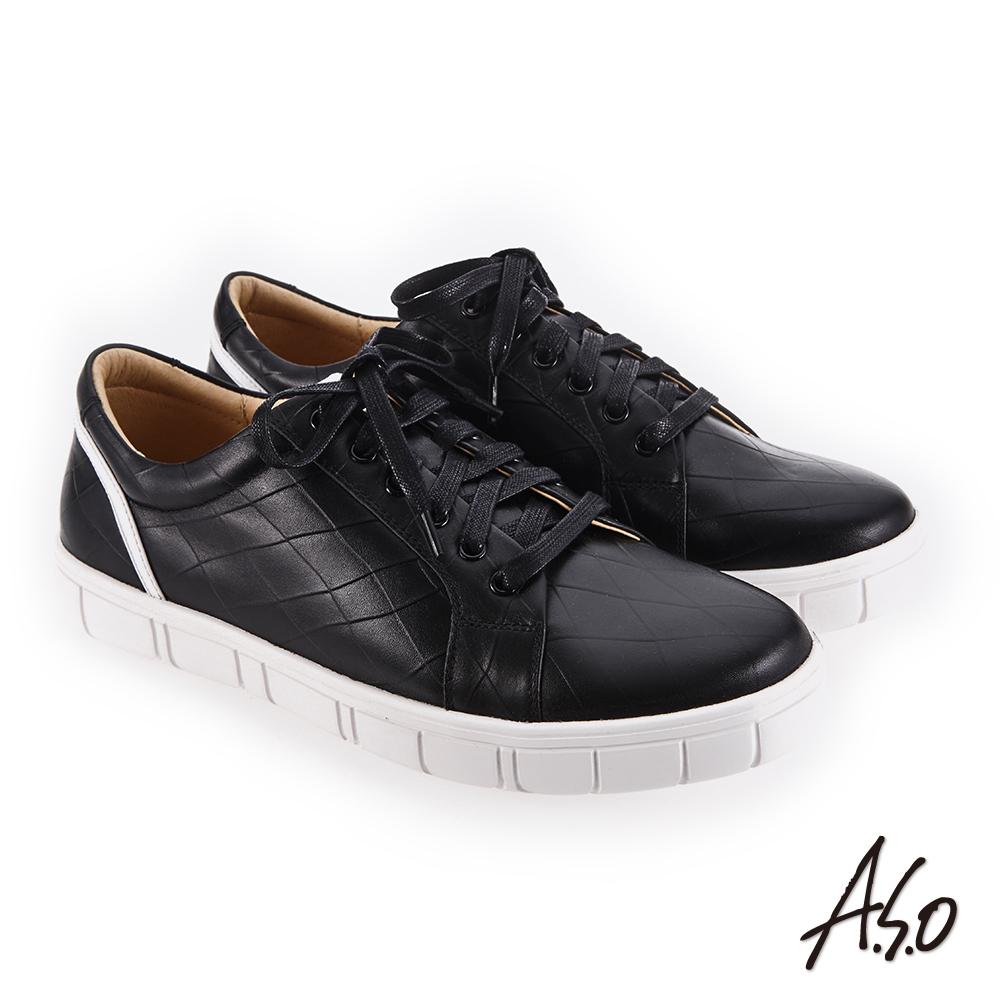 A.S.O 輕量抗震 舒適高包覆性休閒鞋 黑