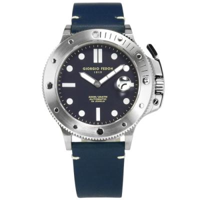 GIORGIO FEDON 1919 自手動上鍊 防水 真皮機械錶-深藍色/45mm