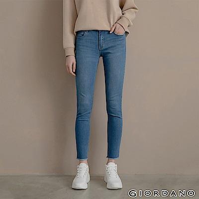GIORDANO 女裝中腰彈力修身窄管牛仔褲-53 淺藍