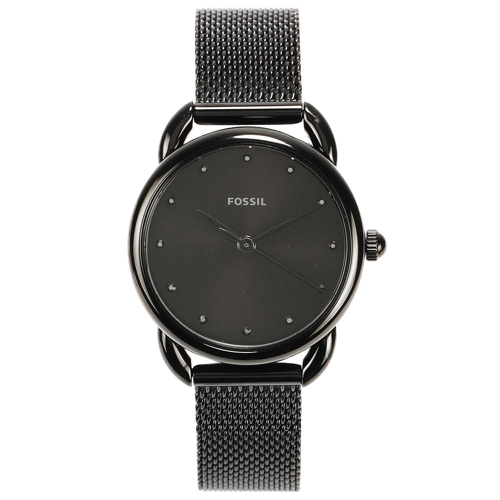FOSSIL Jacqueline 時尚酷黑米蘭帶石英女腕錶-(ES4489)-26mm