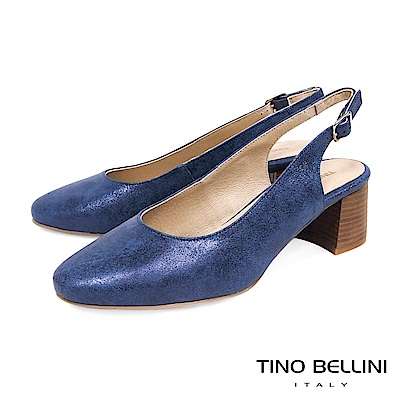 Tino Bellini 西班牙進口低調微光元素簡約中跟鞋 _ 藍