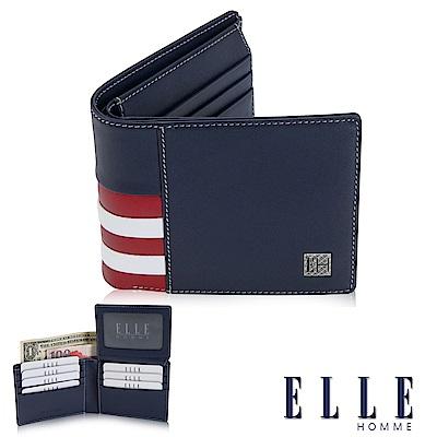 福利品ELLE 法式紅白藍系列 柔軟頭層皮短夾 多層鈔票/上掀式證件/名片格設計- 藍色