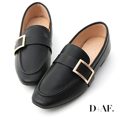 D AF 學院品味.金屬大方釦平底樂福鞋*黑