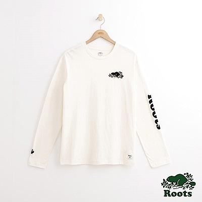 Roots 男裝-左胸海狸長袖T恤-白色