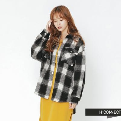 H:CONNECT 韓國品牌 女裝 - 雙口袋毛呢格紋襯衫-黑(快)
