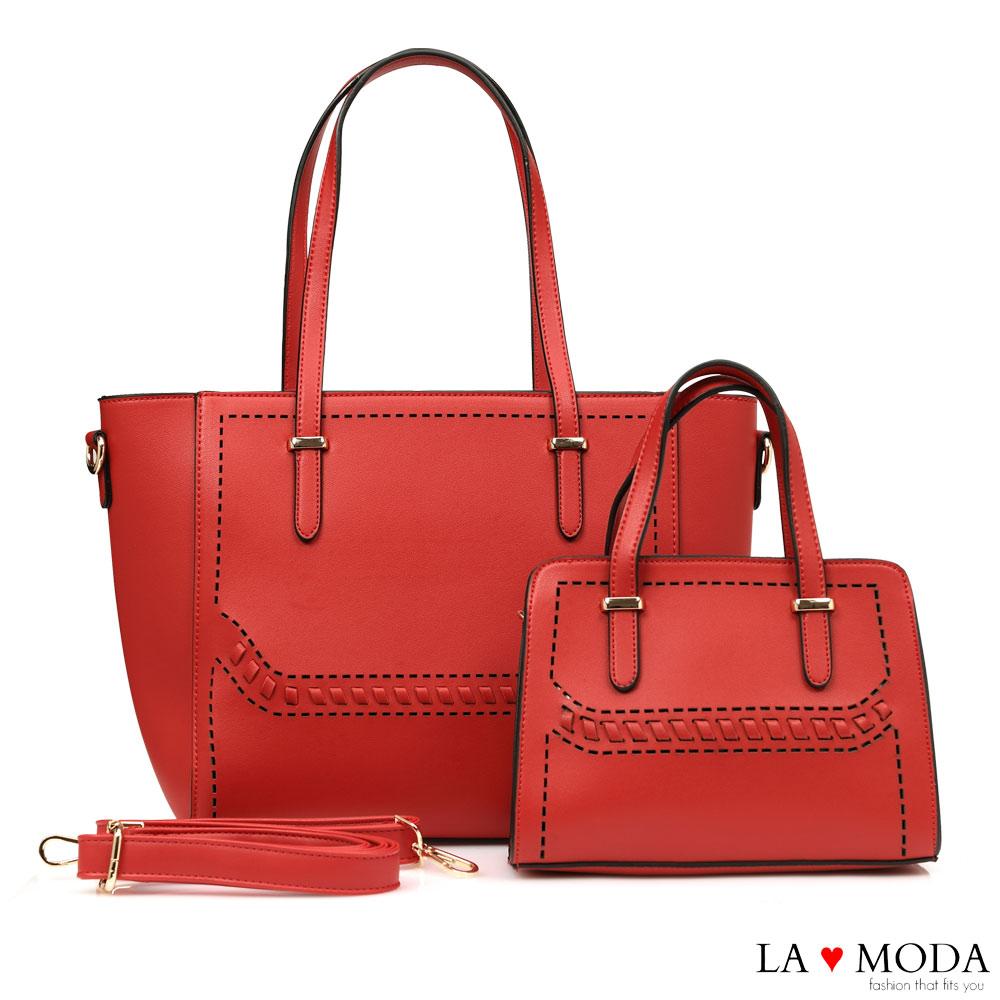 La Moda 經典質感大容量粗線壓紋手提肩背子母包托特包(紅)