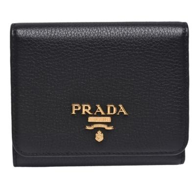 PRADA VITELLO GRAIN經典金色浮雕LOGO壓紋牛皮暗釦三折短夾(黑色)