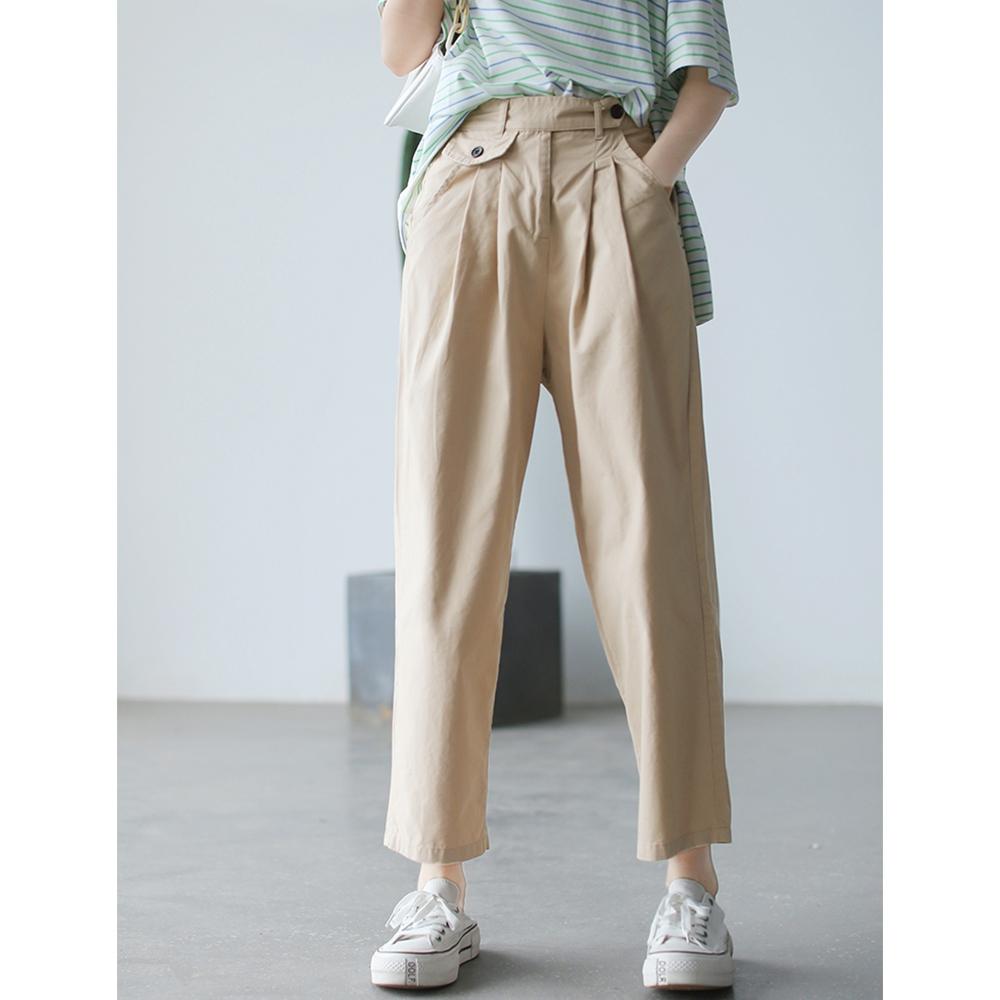 高腰垂感直筒褲寬鬆顯瘦百搭哈倫褲子-設計所在 (米色)