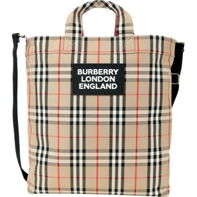 BURBERRY Vintage 皮革標誌經典格紋托特包(典藏米色)