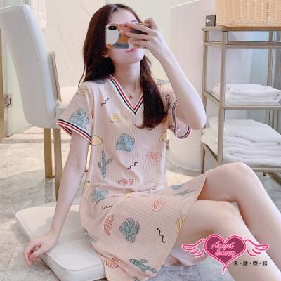 居家睡衣 夏日收藏 莫代爾一件式短袖連身睡裙(膚F) AngelHoney天使霓裳
