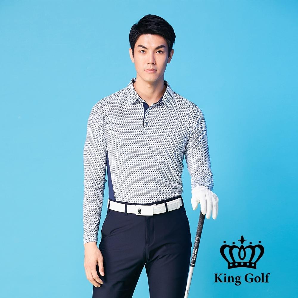 【KING GOLF】K字滿版印圖腰間撞色長袖POLO衫-藍色