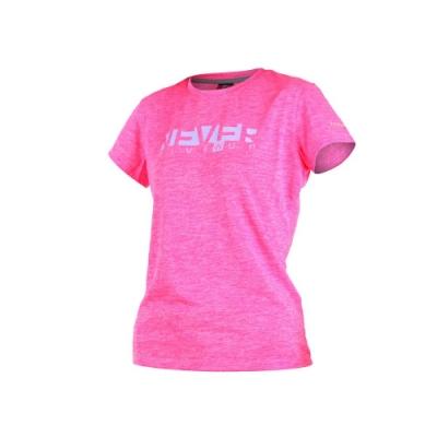 FIRESTAR 女短袖吸排圓領衫-短T T恤 慢跑 路跑 粉紅淺紫