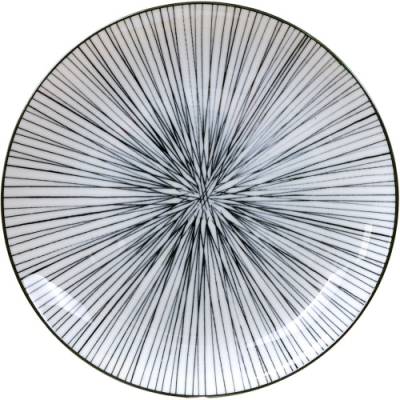 《Tokyo Design》瓷製餐盤(線紋黑20.5cm)