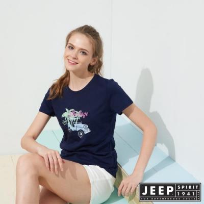 JEEP 女裝 彩繪吉普車印花短袖TEE-藍色