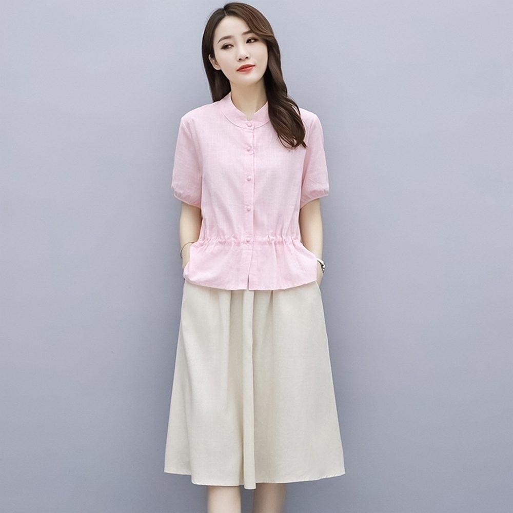 文藝棉麻不規則上衣+鬆緊腰半身裙M-3XL(共二色)-REKO