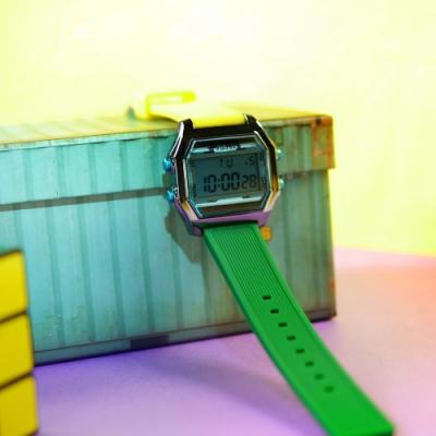 I AM 電子液晶 繽紛色彩 錶帶自由搭配 矽膠手錶-藍x深灰x藍/38mm
