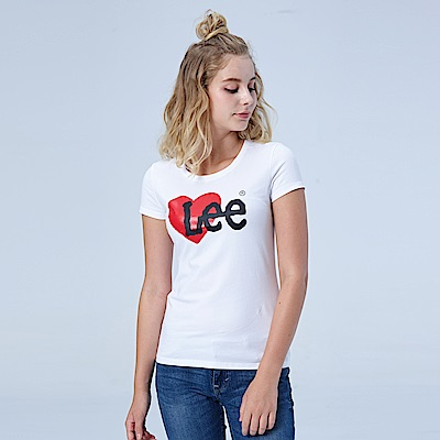 Lee 愛心 LOGO短袖圓領TEE-白色