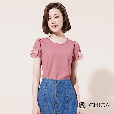 CHICA 童話國度蝴蝶結蕾絲條紋上衣(2色)