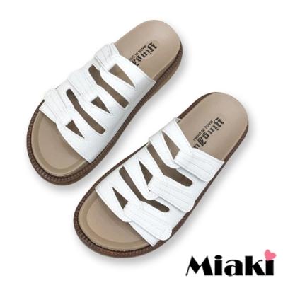 Miaki-拖鞋韓妞經典厚底涼拖-白
