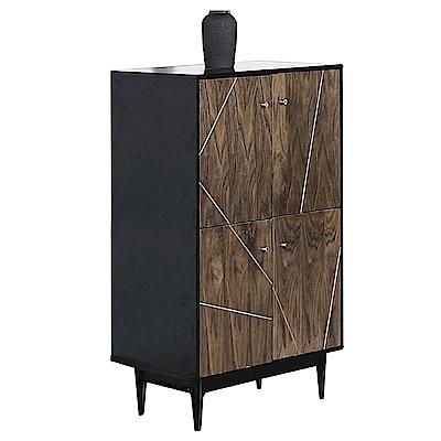 品家居  肯爾2.7尺木紋雙色展示櫃/收納櫃-80x40x122cm免組