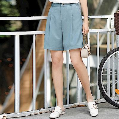 初色  俐落純色A字五分短褲-淺藍色-(M-2XL可選)