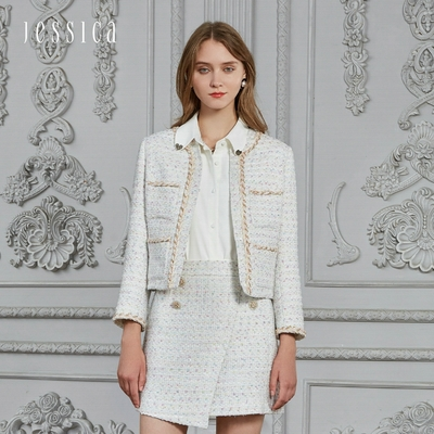 JESSICA - 經典小香風雙排釦花呢小翻領外套