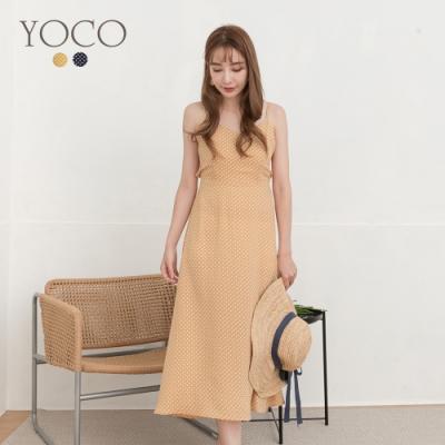 東京著衣-YOCO 清新氣質點點後綁帶造型細肩帶洋裝-S.M.L(共二色)