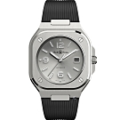 Bell & Ross BR05時尚機械錶-銀色x黑膠帶/40mm