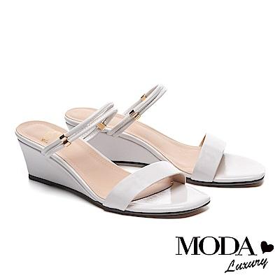涼鞋 MODA Luxury 自信雙條帶造型方頭高跟楔型涼鞋-米白