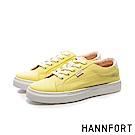HANNFORT CAMPUS厚底帆布休閒鞋-女-奶油黃
