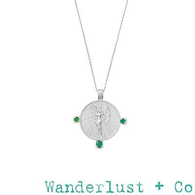 Wanderlust+Co  澳洲品牌 希臘黎明女神綠寶石項鍊 銀色錢幣項鍊 EOS