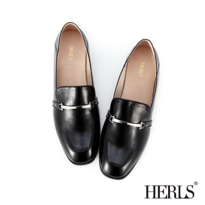 HERLS 摩登自信 全真皮經典馬銜釦樂福鞋-黑色