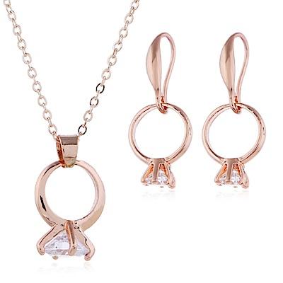 RJ New York 時尚簡約戒指款鋯石項鍊耳環2件套組
