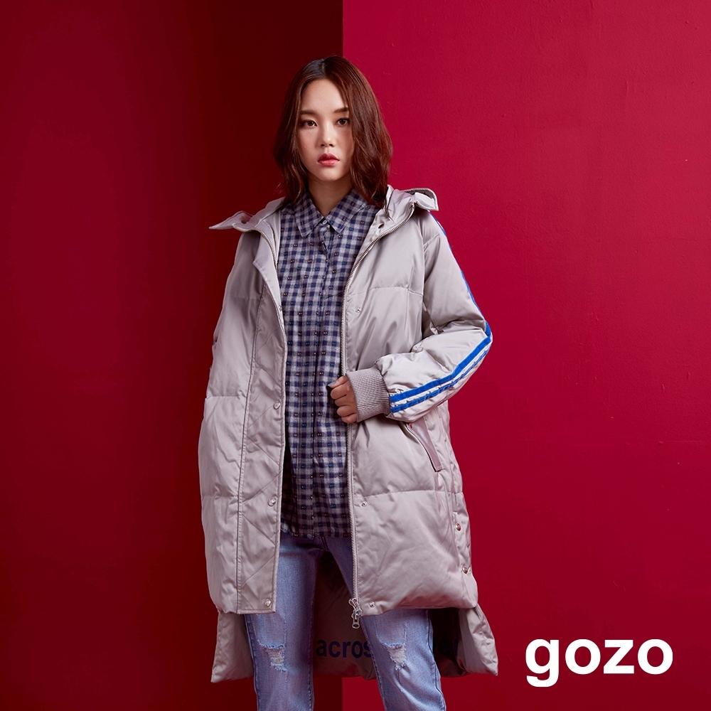 gozo 90%白鴨絨運動風長版連帽羽絨外套(二色)